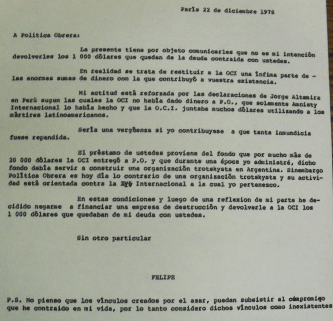 Carta de Felipe a PO (1978-09-22)