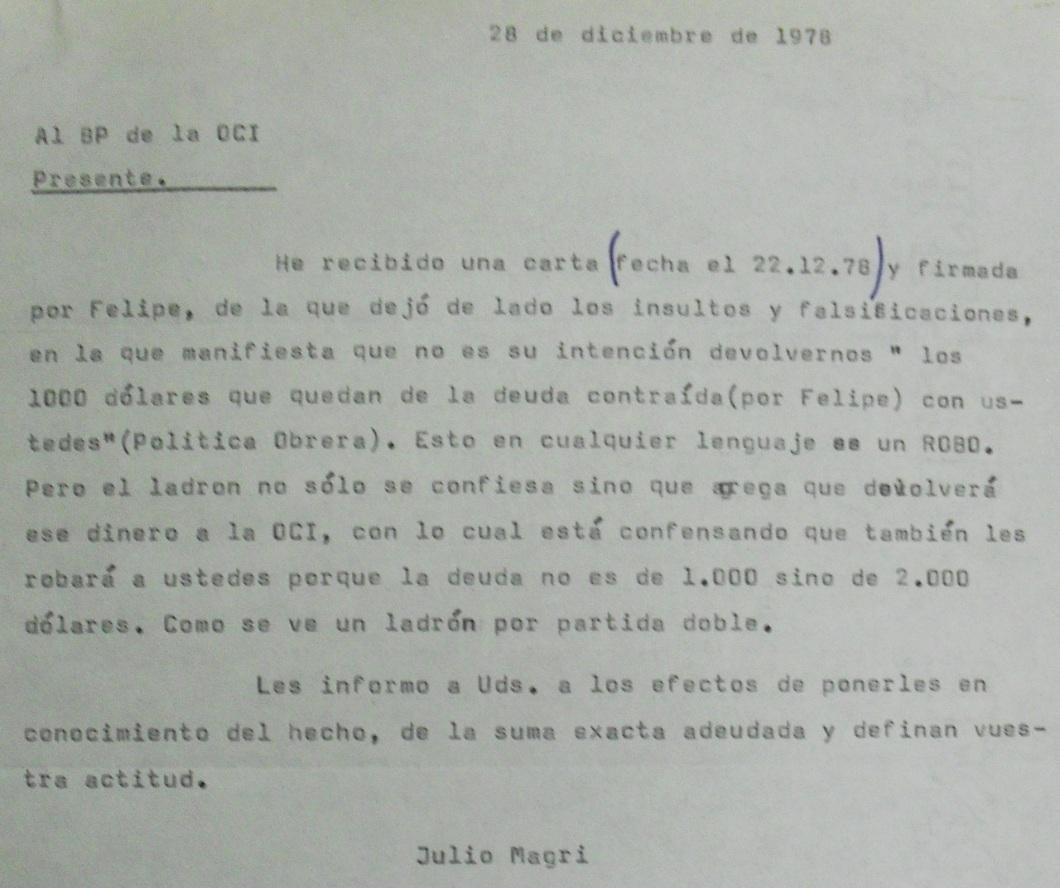 Carta de Julio Magri al BP de la OCI (1978-12-28)